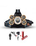 LED linterna 5000 lúmenes de alta potencia LED linterna Boruit 5xCREE XM-L 4 modo Faro completo conjunto