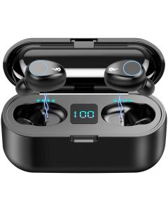 F9 TWS Inalámbrico Bluetooth 5.0 Auriculares, IPX7 Auriculares táctiles impermeables en la oreja deportes running auriculares