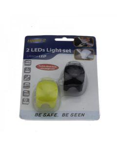 HJ008-2 2-LEDs Black Light 3-Modes con luz trasera multifunción de bicicleta