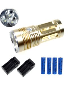 EternalFire rey 3T6 3 * Cree XM-L T6 linterna LED 3000 Lumens 3 modos linterna LED-Glod-completo Set