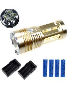 EternalFire rey 4T6 4 * Cree XM-L T6 linterna LED 4000 Lumens 3 modos linterna LED-Glod-completo Set