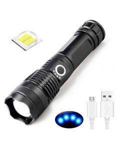 Linterna recargable USB XHP50 LED Luz 5 Modos 26650/18650 Linterna Zoomable