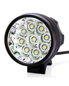 9T6 bicicleta luz 9 * Cree XM-L T6 10800 Lumens 3 modos LED bicicleta faros incluyen batería y cargador - negro