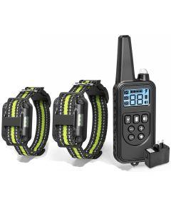 Entrenamiento eléctrico de perros con collar de pantalla LCD Cuello de control remoto recargable de parada de corteza resistente al agua para el sonido de la vibración de choque