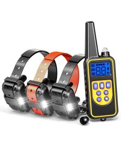 Pantalla LCD recargable recargable de collar de entrenamiento de perros eléctrico 800YD para todos los tamizs Modo de vibración de choque