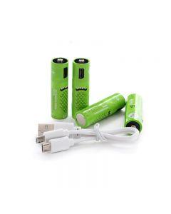 Baterías recargables AA batería 00mAh con puertos USB de alta capacidad 1.2V NiMH baja auto descarga batería recargable AA carga por cable USB (4 Pack cable USB)