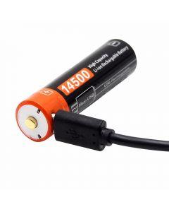 14500 750mAh 3.7V Micro USB batería recargable de iones de litio