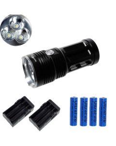 EternalFire rey 3T6 3 * Cree XM-L T6 linterna LED 3000 Lumens 3 modos linterna LED-negro-completo Set
