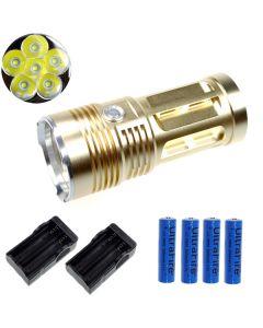 EternalFire rey 6T6 6 * Cree XM-L T6 linterna LED 6000 Lumens 3 modos linterna LED-Glod-completo Set