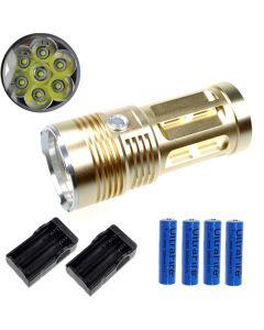 EternalFire rey 7T6 7 * Cree XM-L T6 linterna LED 7000 Lumens 3 modos linterna LED-Glod-completo Set