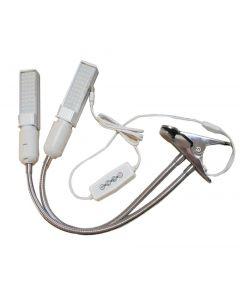 Crece la luz, espectro completo crezca lámpara de 50W, cabeza doble cuello de cisne planta luces para plantas de interior con bombilla reemplazable, 3 modos de interruptor