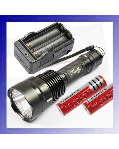 UltraFire C12 CREE XM-L T6 1300 lúmenes linterna de LED de 5 modos + 2 * 18650 batería + cargador
